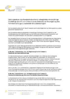 BumF-Stellungnahme zum Entwurf eines Gesetzes zur Neuregelung des Familiennachzugs