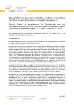 Stellungnahme des Bundesfachverband umF zum Zweiten Datenaustauschverbesserungsgesetz