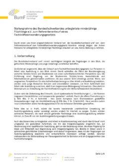 BumF-Stellungnahme zum Fackkräfteeinwanderungsgesetz